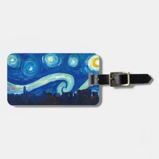 Étiquette À Bagage Silhouette d'horizon de Houston avec la nuit
