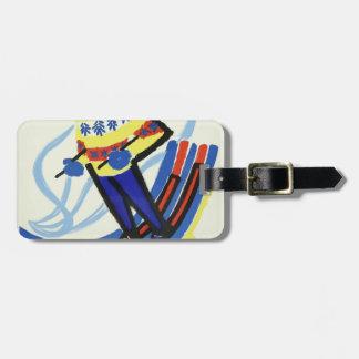 Étiquette À Bagage Ski dans le cru de la France