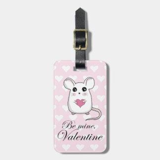 Étiquette À Bagage Souris mignonne - jour de Valentines