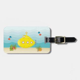 Étiquette À Bagage Sous-marin de jaune de mer profonde