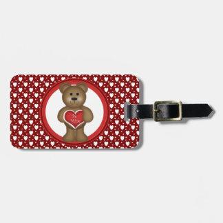 Étiquette À Bagage Soyez le mien, ours debout de Valentine, coeurs,