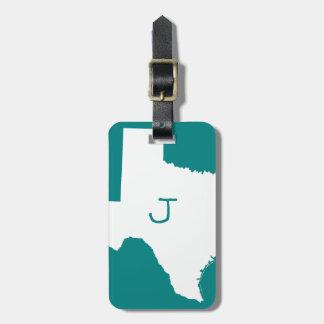 Étiquette À Bagage Teal décoré d'un monogramme et le Texas blanc