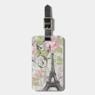 Étiquette À Bagage Tour Eiffel français floral chic minable de pays