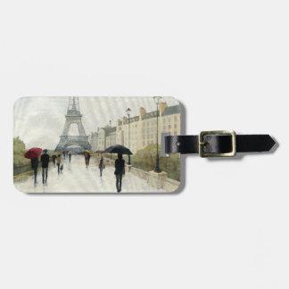 Étiquette À Bagage Tour Eiffel | Paris sous la pluie