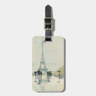 Étiquette À Bagage Tour Eiffel   Paris sous la pluie