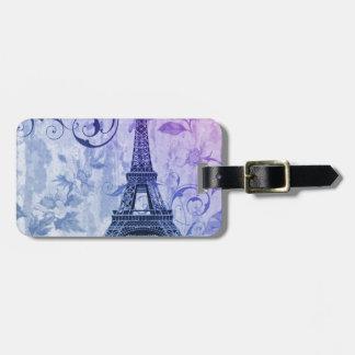 Étiquette À Bagage Tour Eiffel pourpre chic assez girly de Paris de