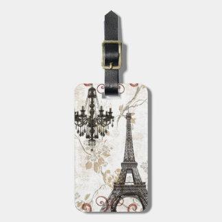 Étiquette À Bagage Tour Eiffel romantique de Paris de feuille