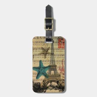 Étiquette À Bagage Tour Eiffel tropical de Paris de coquillages