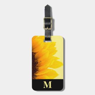 Étiquette À Bagage Tournesol de jaune de voyage de monogramme sur le