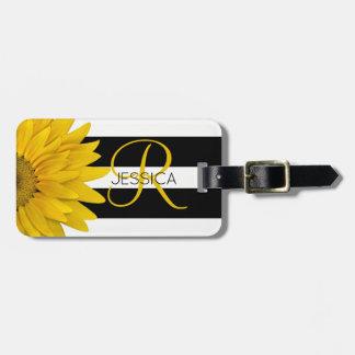 Étiquette À Bagage Tournesol jaune noir et rayures blanches décorées