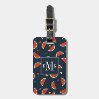 Étiquette À Bagage Tranches de pastèque avec le motif de coeurs