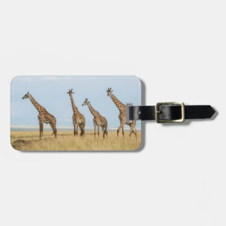Étiquette À Bagage Troupeau de girafe dans la prairie