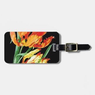 Étiquette À Bagage Tulipes de perroquet sur le noir