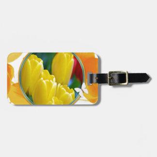 Étiquette À Bagage Tulipes jaunes dans le cadre rond coloré