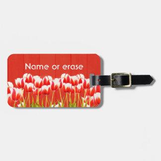 Étiquette À Bagage Tulipes rouges et blanches