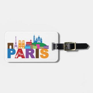 Étiquette À Bagage Typographie colorée de Paris, France  
