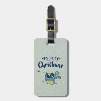 Étiquette À Bagage Typographie de Joyeux Noël et hibou mignon de Noël