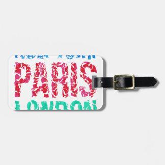 Étiquette À Bagage Typographie de New York Paris Londres de capitale,