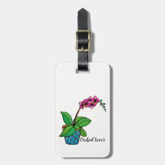 Étiquette À Bagage Usine d'orchidée d'aquarelle dans le beau pot
