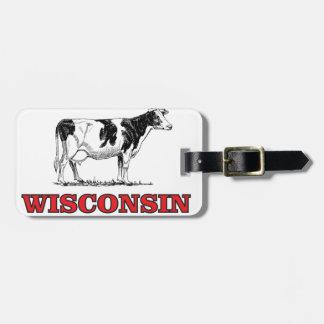 Étiquette À Bagage vache rouge au Wisconsin