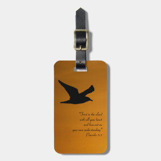 Étiquette À Bagage Vers jaune de bible de foi d'oiseau de ciel de