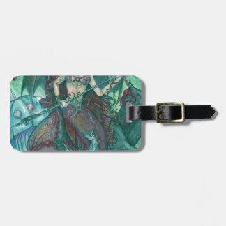 Étiquette À Bagage Vert de Teal de mer d'océan de licorne de sirène
