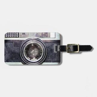 Étiquette À Bagage Vieil appareil-photo noir