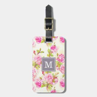 Étiquette À Bagage Vieux monogramme rose L étiquette de motif floral
