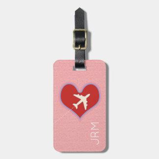 Étiquette À Bagage voyage féminin personnalisé d'avion d'amour