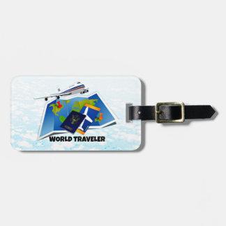 Étiquette À Bagage Voyageur du monde - carte, passeport, et billets