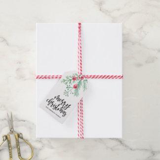 Étiquette à feuillage persistant de cadeau de Noël