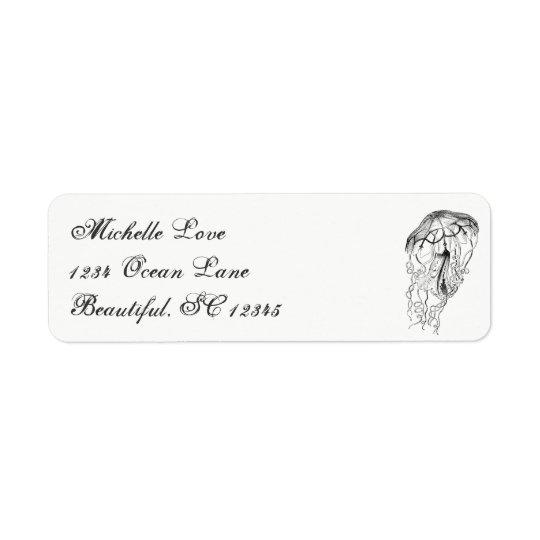 Étiquette Adresse blanche d'océan de méduses de noir vintage