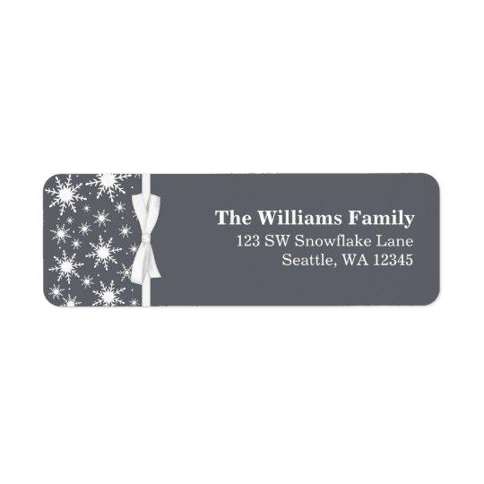 Étiquette Adresse blanche et grise de Noël de ruban de floco