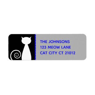 Étiquette Adresse d'amoureux de les chats blanc noir simple