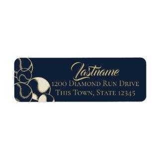 Étiquette Adresse de bleu marine et d'or du base-ball de