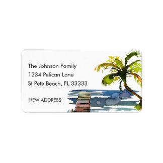 Étiquette Adresse de palmier d'aquarelle nouvelle
