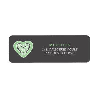 Étiquette Adresse de retour 3991 de mariage irlandais