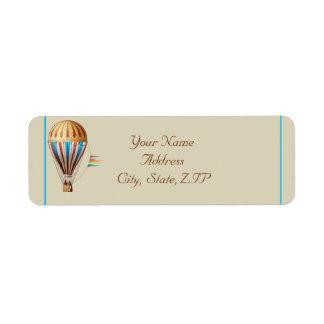 Étiquette Adresse de retour chaude vintage de ballon à air