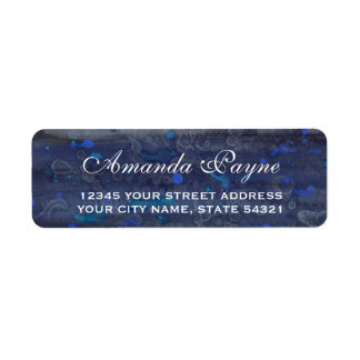 Étiquette Adresse de retour d'aquarelle de mariage de bleu