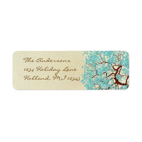 Étiquette Adresse de retour d'arbre bleu d'Aqua d'Aqua