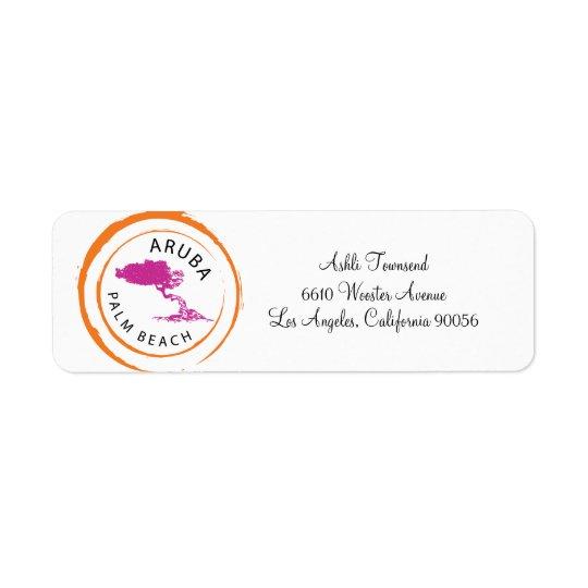 Étiquette Adresse de retour d'arbre d'Aruba Divi Divi