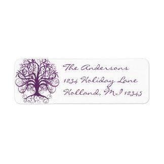 Étiquette Adresse de retour d'arbre de remous de prune