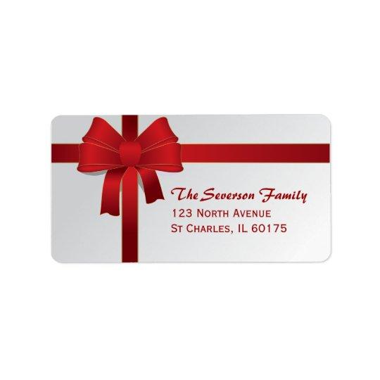 Étiquette Adresse de retour d'arc de vacances rouges de Noël