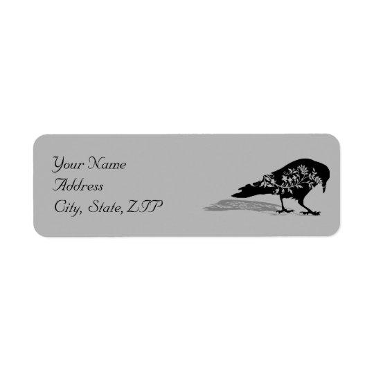 Étiquette Adresse de retour de cadre gothique noir de Raven