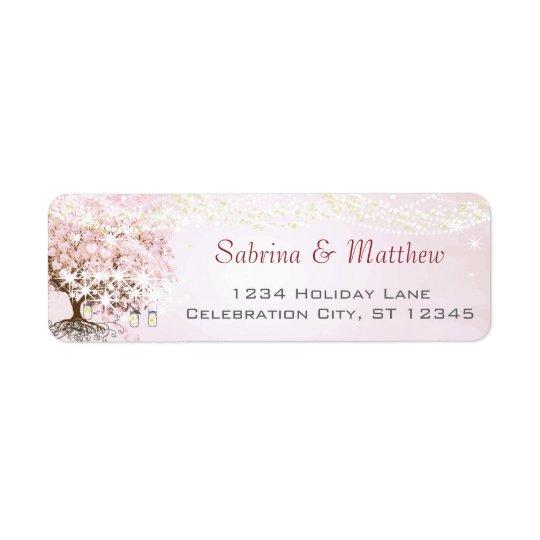 Étiquette Adresse de retour de coeur d'arbre rose de feuille