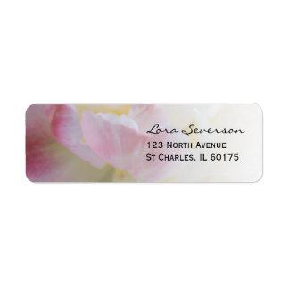 Étiquette Adresse de retour de fleur rose et blanche de