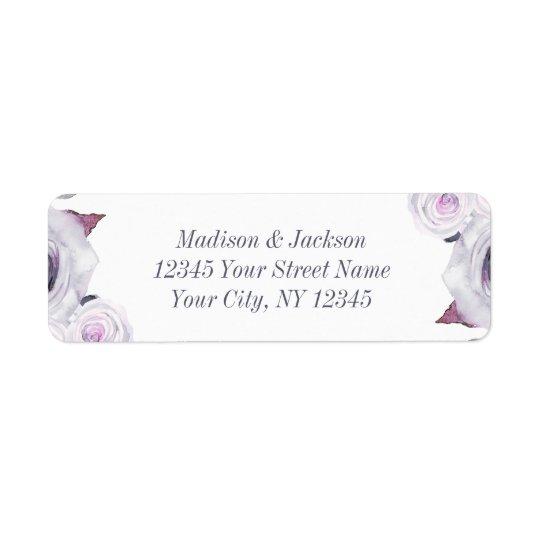 Étiquette Adresse de retour de lavande et de mariage floral