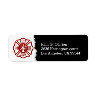 Étiquette Adresse de retour de l'emblème | de sapeur-pompier