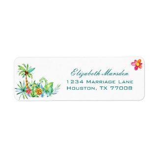 Étiquette Adresse de retour de mariage élégant floral