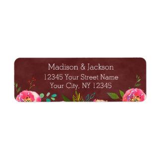 Étiquette Adresse de retour de mariage floral de Bourgogne